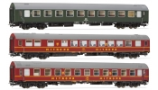 Rivarossi 4234   3-unit set   EXPRESS Train  , contains 1 sleeping-, 1 restaurant and 1 sleeperette coach, DR, period IV a, livery dark green/b