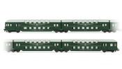 Rivarossi 4217 4-unit double decker coaches with control cab, green, DR, IV