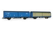 Rivarossi 6284 Set of 2 slidding walls wagons FORD livery (one silver, one blue)