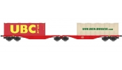 ACME 40351 Articulated container wagon Type Sggrss 80, of DB, loaded with 2 containers
