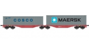ACME 40364 Articulated container wagon Type Sggrss 80, of ÈD loaded with COSCO+MAERSK containers