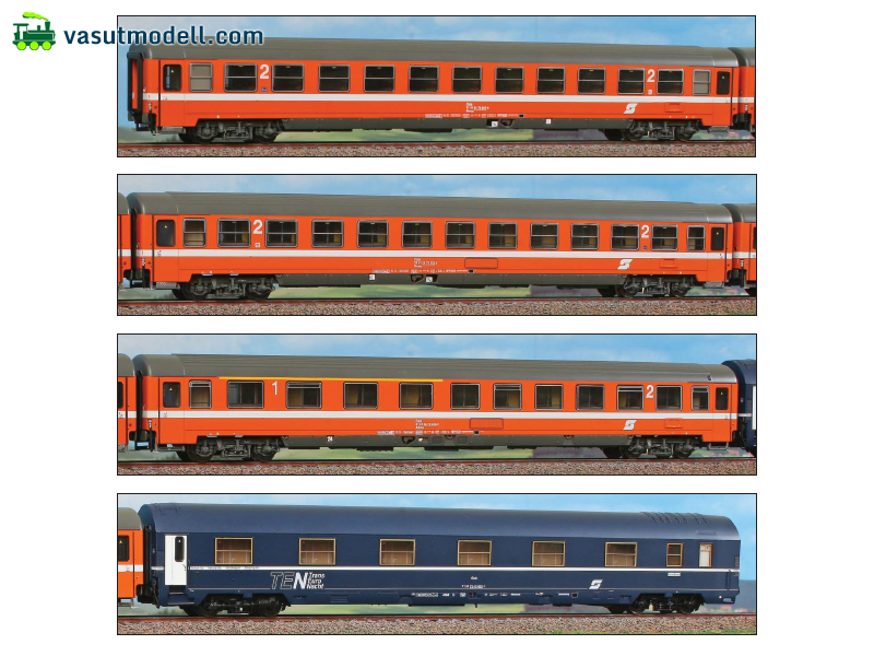 ACME 55164 Adria Express: set with 4 cars, 1 x 1st class, 2 x 2nd class, 1 sleeping car, EP IV/V