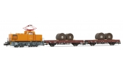 ARNOLD 2300 Train set DB AG, contains diesel shunting locomotive, class V 60D with pantograph, livery orange with grey wheels, and 2 flat wa