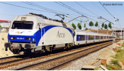 ARNOLD 2450  RENFE, 252 electric locomotive   Arco  , white, blue and grey livery, ep. V