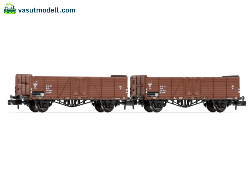 ARNOLD 6381 DR, 2-unit set 2-axle open wagons El-u (ex O mm Villach), brown livery, IV
