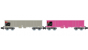 ARNOLD 6426 SBB, 2-unit pack 4-axle open wagons type Eaos, one in pink livery and one in grey livery, loaded with scrap, period V