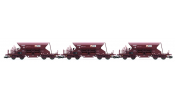 ARNOLD 9703 3-unit set self discharging wagons, Fac 265, KIROW Leipzig AG, with high top-box