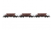 ARNOLD 9705 Set x 3 self discharging ballast wagons with low top box, 2nd serie, 00tv, brown livery, period 4