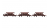 ARNOLD 9706 Set x 3 self discharging ballast wagons with high top box, Fac, brown livery, period 4