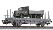 LILIPUT 235047 Flat Wagon with Wood Stanchions & Military Truck SBB, IV