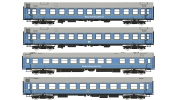 Rivarossi 4233   4-unit set   TOUREX 1  , contains 2 sleeping-, 1 restaurant- and 1 salon coach, DR, period III, livery light blue