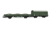 Rivarossi 6277 Set of 2 maintenance wagons, one flat wagn loaded with ballast and one closed wagon, DR, IV