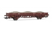 Rivarossi 6305 2-axle flat wagon without stakes, DB, period IV, livery brown, loaded with ballast