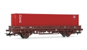 Rivarossi 6306 2-axle flat wagon without stakes, DR, period IV, livery brown, loaded with 40´ container (red DSR)