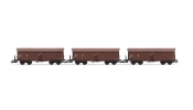 Rivarossi 6309 3-unit set self-discharging wagons with top box, DR, period IV a, livery brown
